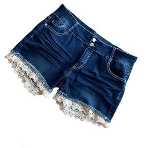 Blue Savy Plus Size Jean Shorts w/Crocheted lace